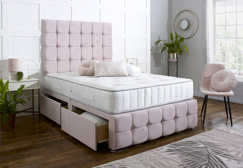 Delilah Divan Bed Set with Tall Button Headboard and Footboard - Divan Bed Warehouse