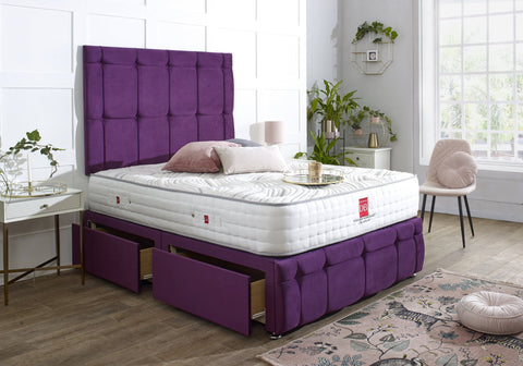 Turin Divan Bed Set with Tall Button Headboard and Footboard - Divan Bed Warehouse