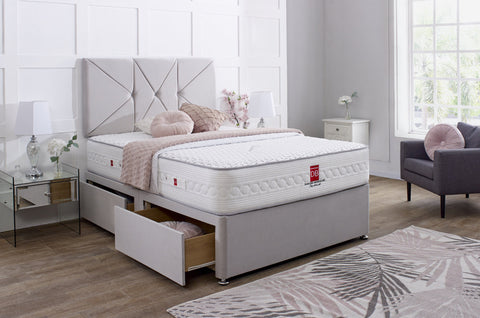 Prague Divan Bed Set with Button Headboard - Divan Bed Warehouse