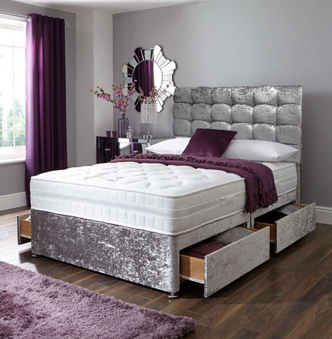 Royal Kensington Divan Bed Set with Button Headboard - Divan Bed Warehouse