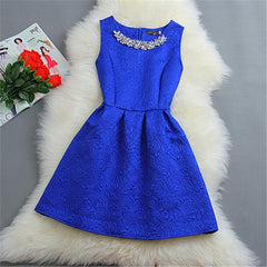 Women O-neck Sleeveless Solid Color Dresses