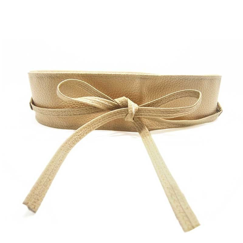 New Fashion Women belt Soft Leather Wide Self Tie Wrap Around Waist