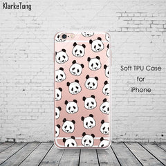 Cute Cartoon Animal Panda Case For Iphone SE 5 5S 6 6S 7 Plus Transparent Silicone Phone Back Cover Coque - Stylished Shop