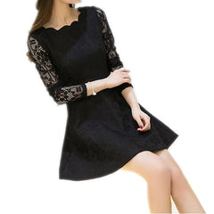 Spring Summer Autumn Women Lace Casual Dress Long Sleeve Korean Party Dresses Vestido White Black Pink Mini Dress Robe Dentelle - Stylished Shop
