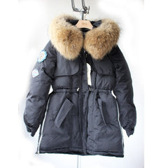 Women Real Fur Winter Jacket White Duck Down Parka Jackets Natural Raccoon Fur - Stylished Shop