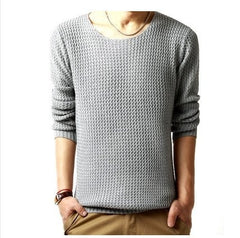 Men Fall Winter thickened water ripples round neck sweater - Stylished Shop