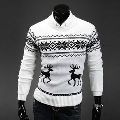 Wool Sweater O-neck Thick Christmas Deer - Stylished Shop