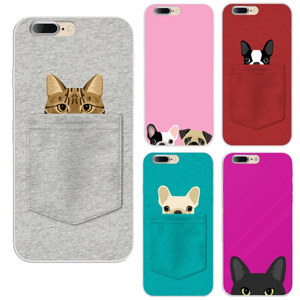 Funny Pocket Cat Design Case For iPhone 7