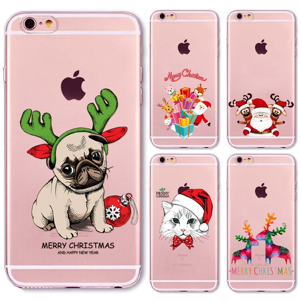 Christmas New Year Gifts Tree Snowman Animals Case For iphone 6 6s / 7 Plus 6Plus 5 5s SE 4 4s 5C Soft Silicone Back Cover Case - Stylished Shop