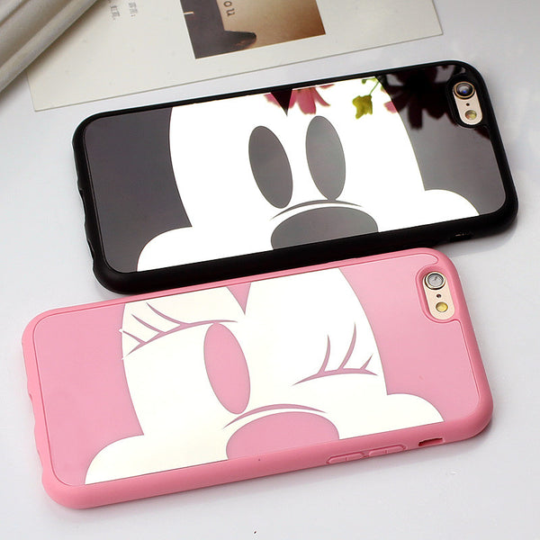 Cute Mirror Mickey Minnie Soft TPU Case For iphones