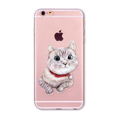 Cute Cat Case Cover For iPhone - Transparent Soft Silicone Cell Phone Cases - Stylished Shop