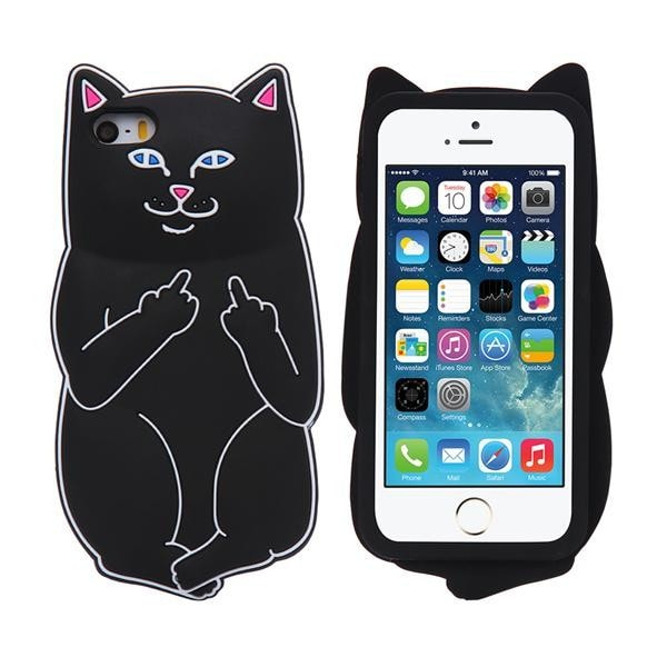 Soft Silicon Cat Case For iPhone 7 6 6s Plus 5 5s Cases 3D Cartoon Animals Rubber Middle Finger Cover For iPhone 6 6s Coque Capa - Stylished Shop