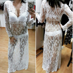 Women Hot Dress Hollow Out Long Sleeve V Neck Lace