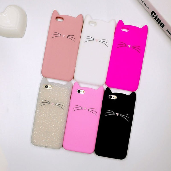 3D Fashion Cute Cartoon Animal Beard Cat Ears Cases For iPhone - Stylished Shop