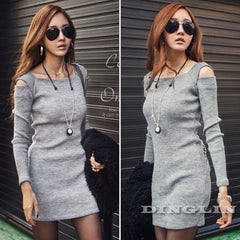 Women Sweater Knitted Dress Long Sleeve