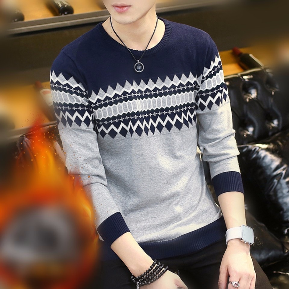 Pullover Men Round Neck Casual Sweater Cotton Slim