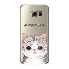 Cute Cat For Samsung Galaxy S7 S7edge Fashion Phone Csae Cover Transparent Soft Silicon TPU Mobile Phone Bag - Stylished Shop