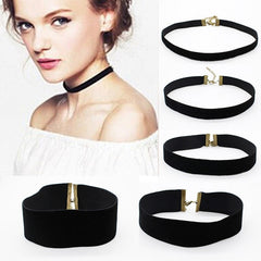 Black Velvet Choker Necklace 90's for Women