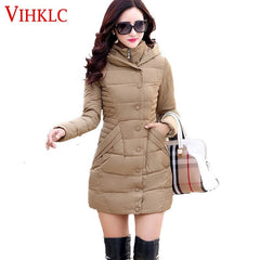 Winter Women Down Jacket Warm Pure Color Hooded Long Jacket - Stylished Shop