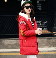 Winter jacket women military print parkas duck down loose fit coat medium long - Stylished Shop