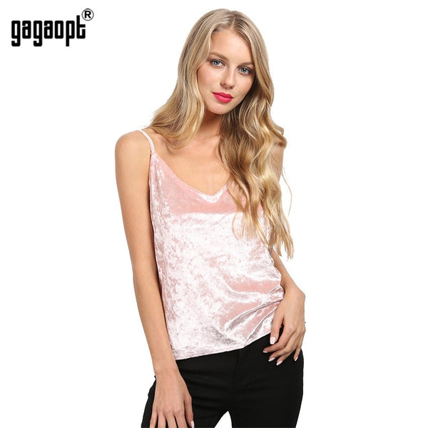 Sexy Deep V-Neck Velvet Women Top Summer Style Sleeveless Pink Tank Top Camisole Tank Casual Party Crop Tops