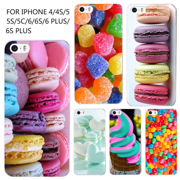Phone Case For iPhone 4 4s 5 5s SE 6 6s Colorful Dessert Ice Cream Macarons Styles Hard Cover