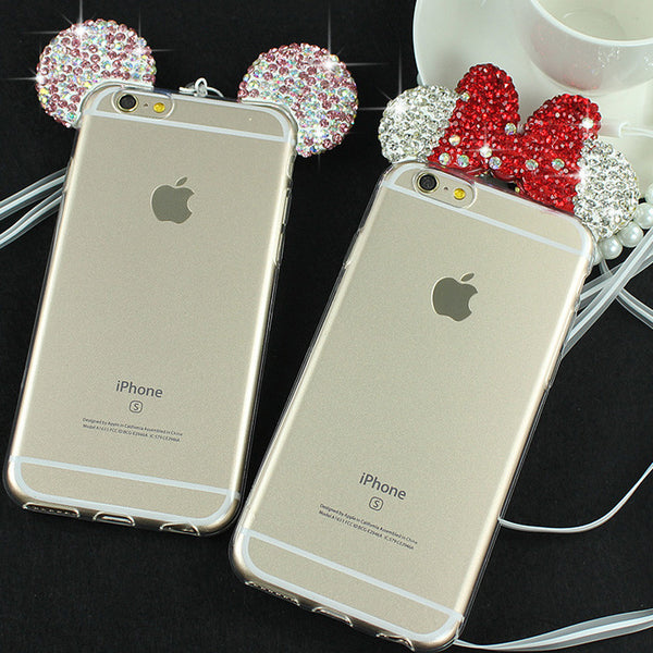 3D Diamond Minnie Mickey Mouse Case For iPhone