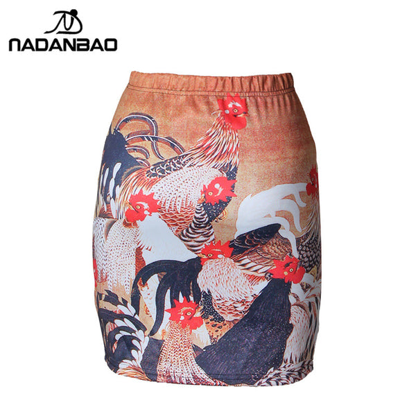 Painted Chickens Skirt for Women