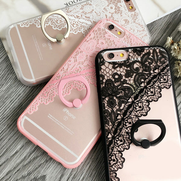 Black Lace floral Pattern Case For iPhone