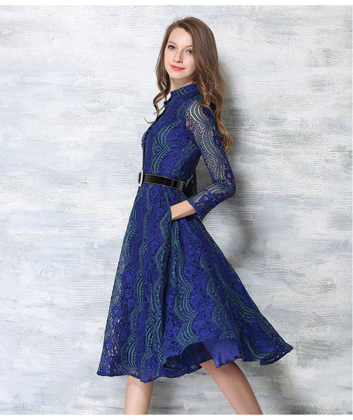 Blue Lace Hollow out Dress Women