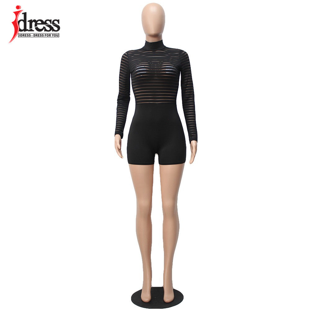 Black Striped Mesh See Through Long Sleeve Sexy Rompers Jumpsuit