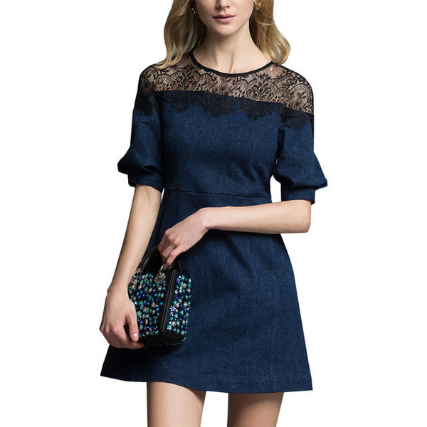 Blue Short Sleeve Dress For Women