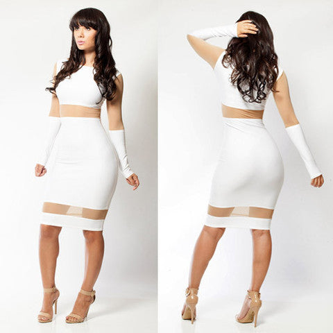 Playsuit Sexy White Evening Dress Set