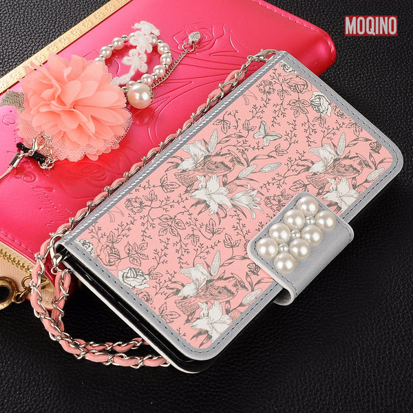 Flowers Artificial Pearls Leather Case for iPhone