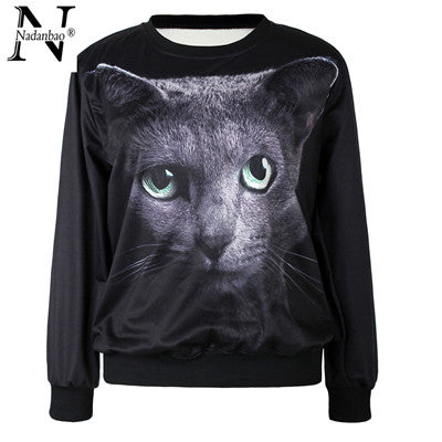 Black Cute Cat Sweatshirt for Women