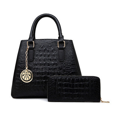 Black Handbag with Wallet for Women