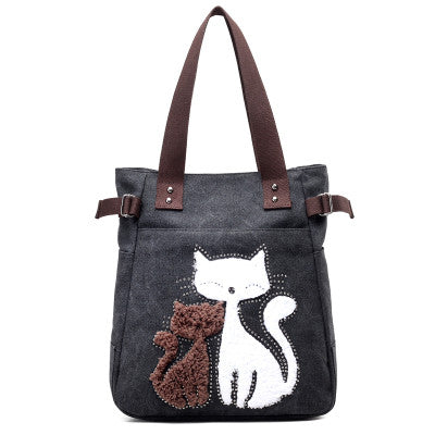 Black Cute Cats Handbag for Women
