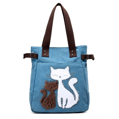 Blue Cute Cats Handbag for Women