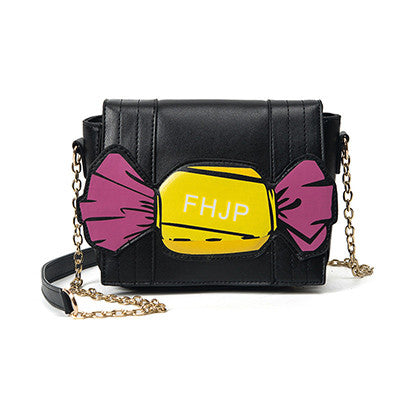 Black Handbag Shoulder Bag with Candy