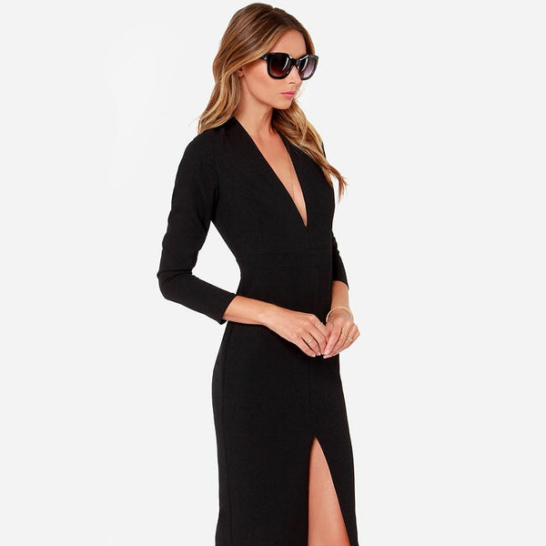 Black Dress Sexy V-Neck Women