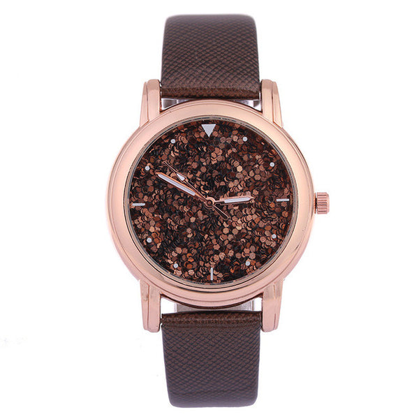 Brown Fashion Rhinestone Quartz Watch for Women