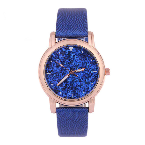 Blue Fashion Rhinestone Quartz Watch for Women