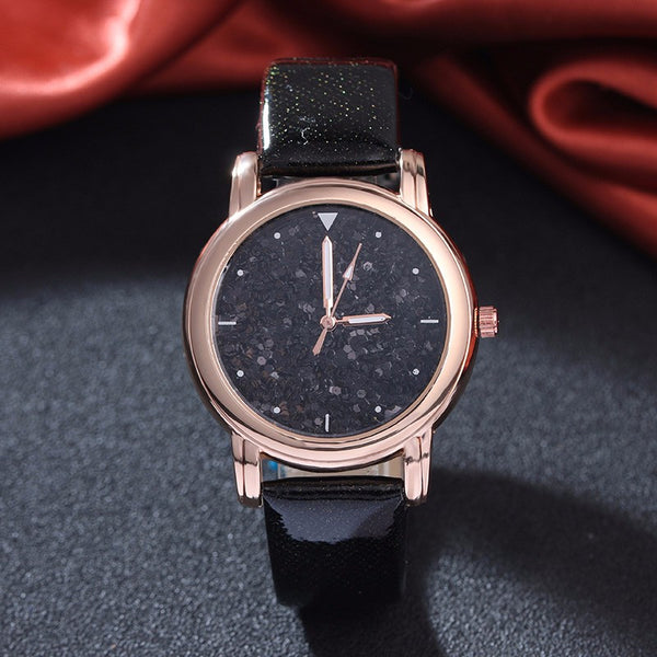 Black Fashion Rhinestone Quartz Watch for Women
