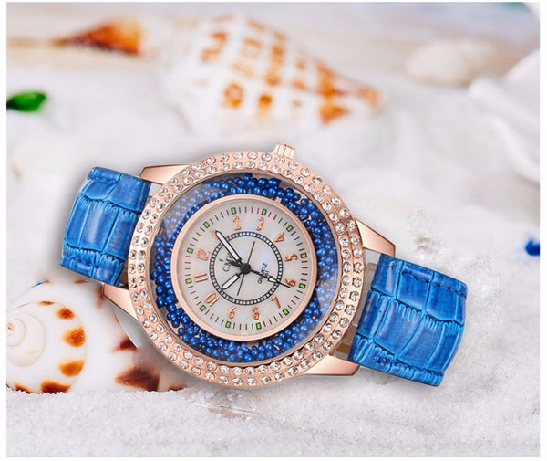 Blue Elegant Fashion Ladies Wrist Watch for Women