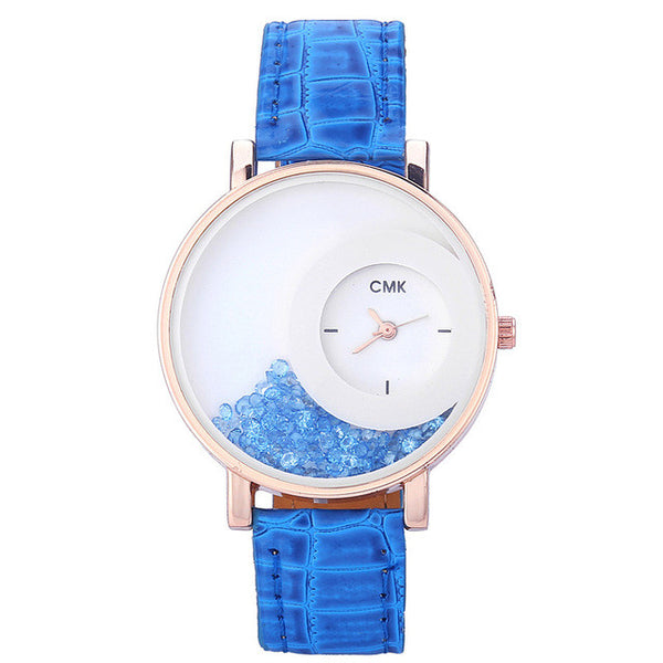 Blue Fashion Rhinestone Ladies Watch for Women