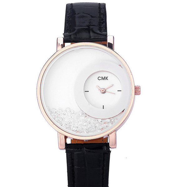 Black Fashion Rhinestone Ladies Watch for Women
