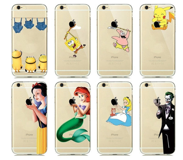 Colorful Cartoon Silicone Case for capinhas iphone 7 Plus 6 6S 5 SE 5S Phone Case Snow White Cinderella Mermaid Clear Cover Para - Stylished Shop