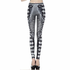 Black White Leggings for Women