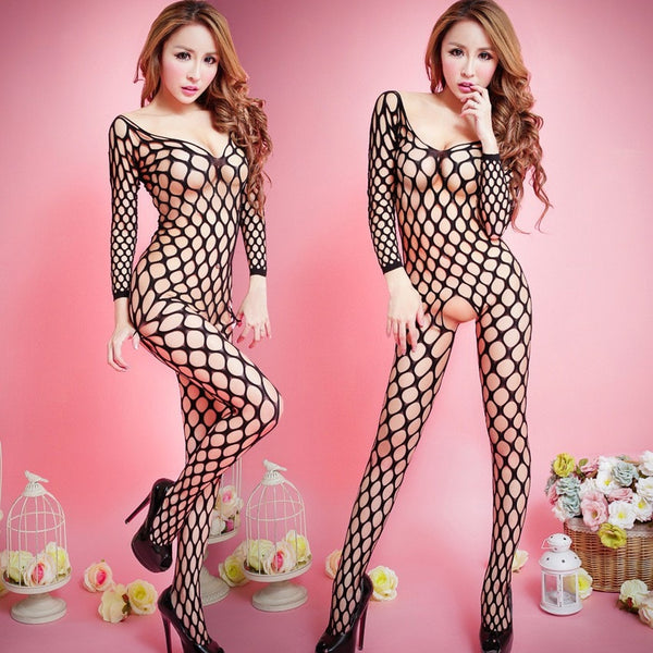 Sexy one-piece fishnet stockings lingerie suit Custom for Women