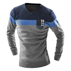 Mixed Colors Sweater Men Leisure Slim Pull Homme V-Neck Long-Sleeved Sweater